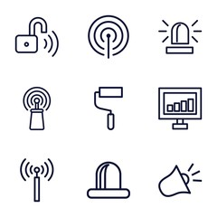 Set of 9 signal outline icons