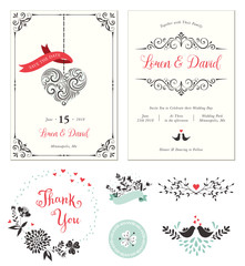 Ornate Wedding cards with typographic design, swirl heart shape, birds, sticker, banners, decorative frames and floral wreath. Vector illustration.