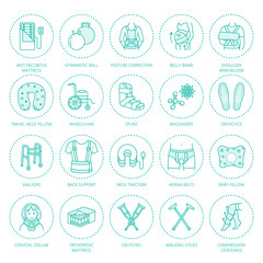 Orthopedic, trauma rehabilitation line icons. Crutches, orthopedics mattress pillow, cervical collar, walkers and other medical rehab goods. Health care thin linear signs for clinic and hospital.