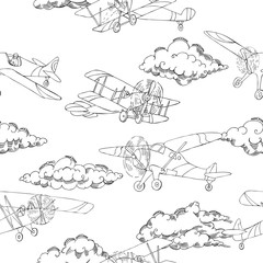 Seamless pattern with clouds and airplanes