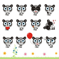 Big set cute little badger. Collection isolated cartoon badger in different poses.