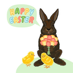 Happy Easter vector illustration with rabbit, tulip and chicken on a white background. Holiday card. Cute animal.