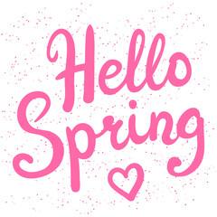 Phrase Hello Spring brush pen lettering