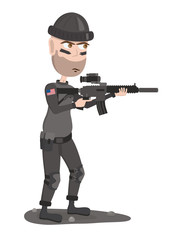 Soldier. American soldier with gun. Cartoon soldier.