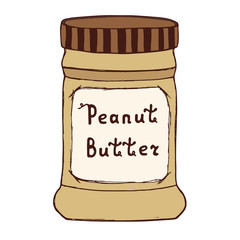 Peanut butter jar. Sketch illustration with hand drawn letters. Isolated on white