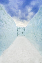 Snow corridor labyrinth with no way out.