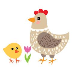 Cute cartoon hen and chicken