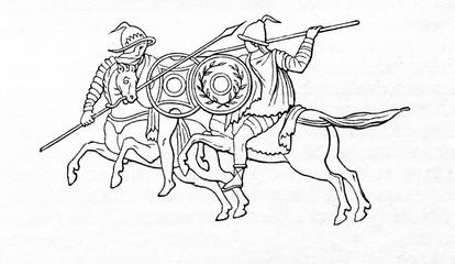Blindfolded gladiators - andabata (from Meyers Lexikon, 1895, 7/607)