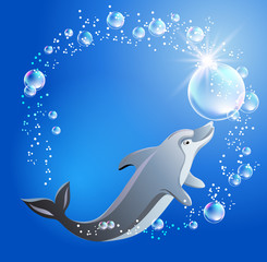 Dolphin and bubbles