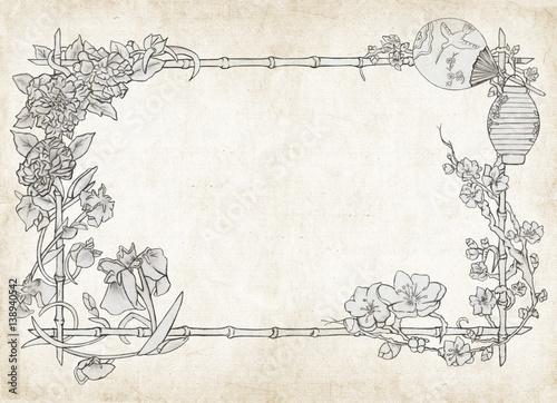 Cornice Floreale Giapponese Su Sfondo Pergamena Immagini E