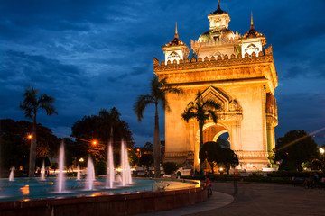 Vientiane, Laos. Patuxay park at night