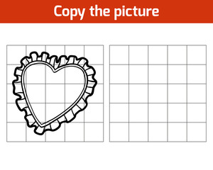 Copy the picture for children, Pillow (heart shape)