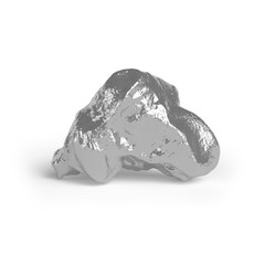 Silver nugget. 3d render
