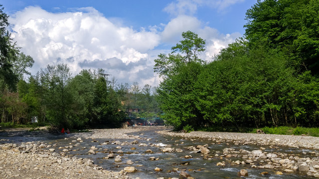 View of a shallow river.