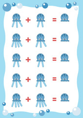 Counting Game for Preschool Children. Count the numbers in the picture and write the result