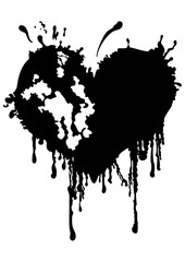Bloody ragged heart. Illustration a black heart like an ink blot