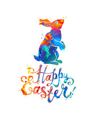 Happy Easter card. Easter bunny and hand written inscription