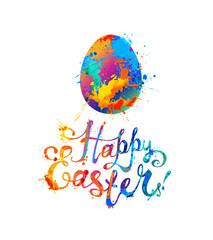 Happy Easter! Splash paint hand written inscription and Easter egg