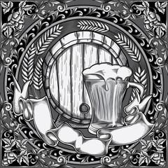 Balck and white retro beer emblem
