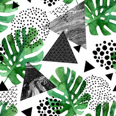 Papiers peints Empreintes Graphiques watercolor tropical leaves and textured triangles background