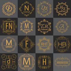luxury monogram logo identity template collection,elegant line art trendy,business sign,boutique logo , premium insignia,vector illustration