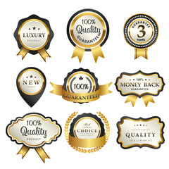 Luxury premium golden badge collection,vector illustration