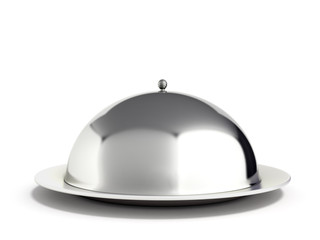 Restaurant cloche with close lid 3d render
