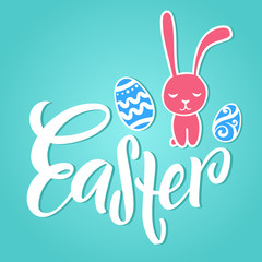 Hand lettering Easter. Modern typography with cartoon easter bunnies