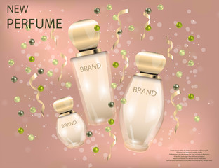 Glamorous perfume glass bottles on the  sparkling effects background.
