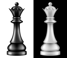 Chess piece Queen, two versions - white and black. Vector illustration.