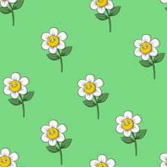 Pattern children Chamomile. Seamless pattern cartoon chamomile on a green background. vector illustration.