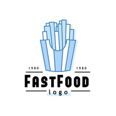 Linear Flat fast food badge, banner or logo emblem. Elements on the theme of the fast food business.