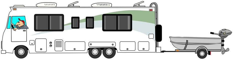 Illustration of a man driving a class A motorhome and towing a small aluminum fishing boat.