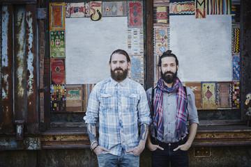 Portrait of two bearded men