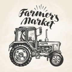 Farmer's market. Hand-drawn farmer rides on agricultural tractor, sketch. Farm, agriculture vector illustration