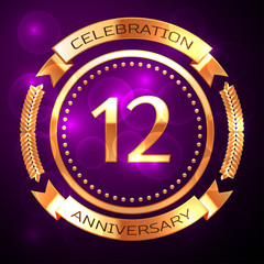 Twelve years anniversary celebration with golden ring and ribbon on purple background.
