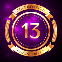 Thirteen years anniversary celebration with golden ring and ribbon on purple background.