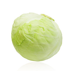 Green cabbage isolated on white background. Clipping path, contour