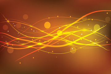 Smooth Waves. Orange Design. Beautiful abstract background with gradient . Vector illustration