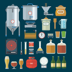 Home brewing factory production items. Vector.