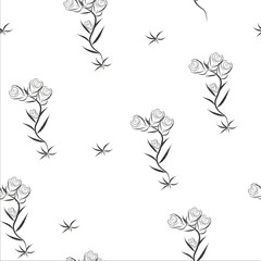 Vector seamless floral pattern. Abstract green leaves and flowers. illustration. EPS