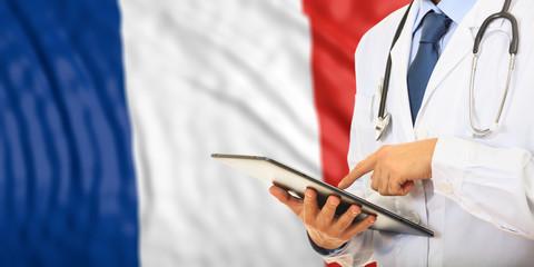 Doctor on France flag background. 3d illustration