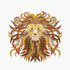 Creative illustration of a lion's head, painted smooth lines, with lush mane, filled with various patterns, design work
