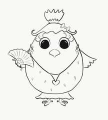 Coloring for kids, funny chick girl