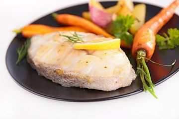 grilled fish steak and vegetable