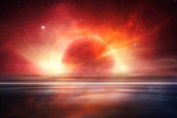 Wall Murals Orange Glow Mars desert like fantasy landscape