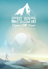 Ski Mountain Poster Template with Nordic Walking Man - Vector Illustration