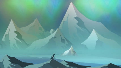 Mountains Landscape with Northern Aurora - Vector Illustration