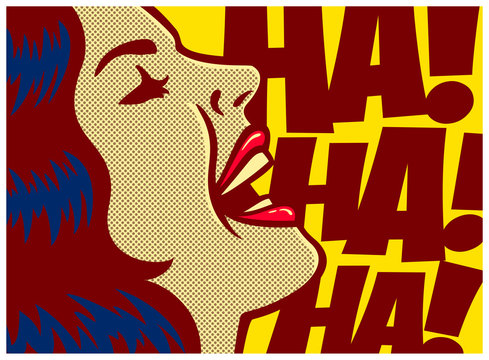 Pop art style comic book panel woman having fun and laughing out loud vector poster design illustration