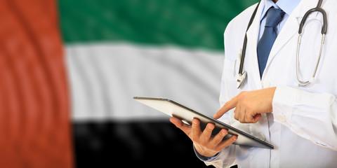 Doctor on UAE flag background. 3d illustration